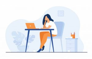 Cartoon exhausted woman sitting at table and working